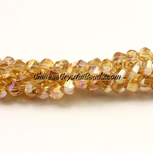 Crystal Helix Beads Strand, 4mm, Gold Champagne AB, about 100 beads, 15 inch