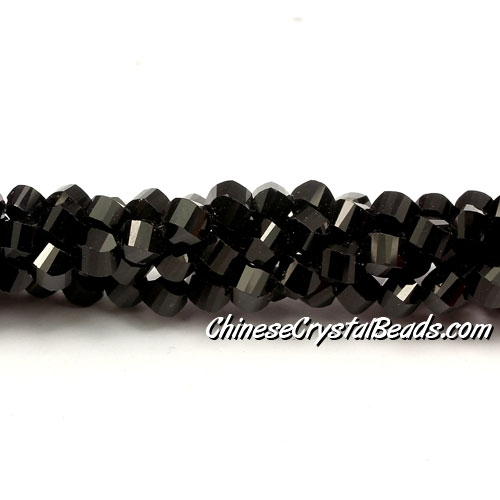 Crystal Helix Beads Strand, 4mm, Jet, about 100 beads, 15 inch