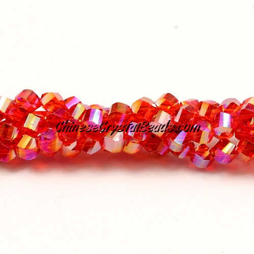 Crystal Helix Beads Strand, 4mm, light siam AB, about 100 beads, 15 inch