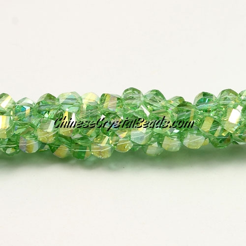 Crystal Helix Beads Strand, 4mm, lime green AB, about 100 beads, 15 inch