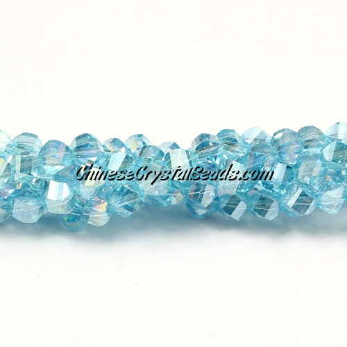 Crystal Helix Beads Strand, 4mm, LT aqua AB, about 100 beads, 15 inch