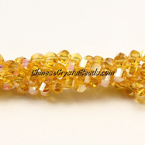 Crystal Helix Beads Strand, 4mm, golden AB, about 100 beads, 15 inch