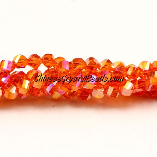Crystal Helix Beads Strand, 4mm, tangerine AB, about 100 beads, 15 inch