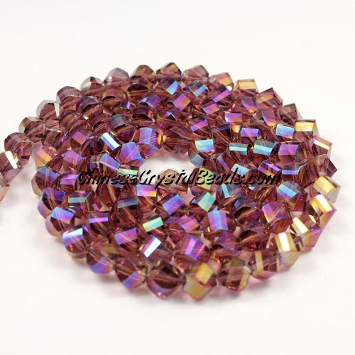 Crystal Helix Beads Strand, 6mm, Amethyst AB, about 50 beads