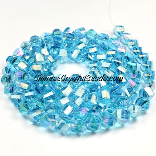Crystal Helix Beads Strand, 6mm, Aqua AB, about 50 beads