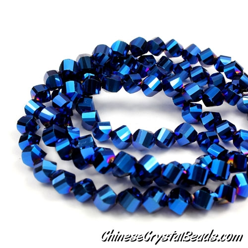Crystal Helix Beads Strand, 6mm, blue light, about 50 beads