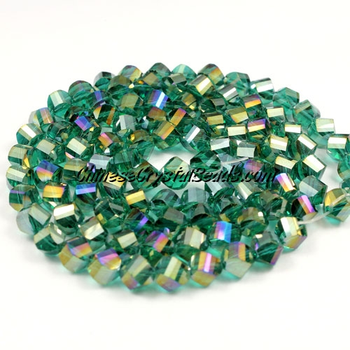 Crystal Helix Beads Strand, 6mm, Emerald AB, about 50 beads