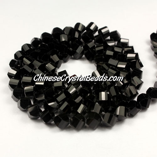 Crystal Helix Beads Strand, 6mm, jet, about 50 beads