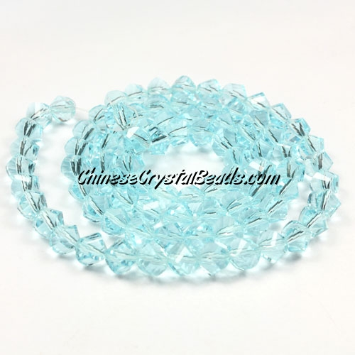 Crystal Helix Beads Strand, 6mm, light Aqua, about 50 beads