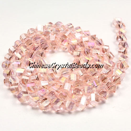 Crystal Helix Beads Strand, 6mm, Pink AB, about 50 beads