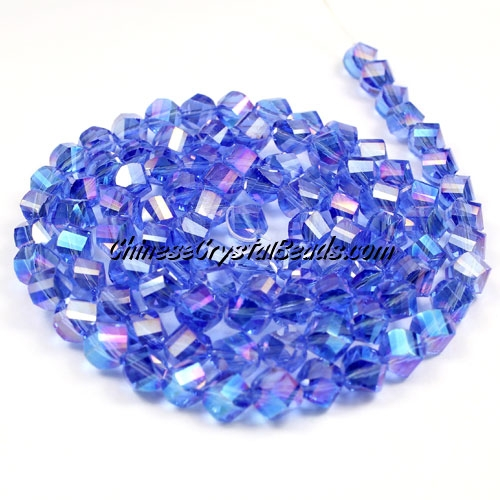 Crystal Helix Beads Strand, 6mm, Med sapphire AB, about 50 beads