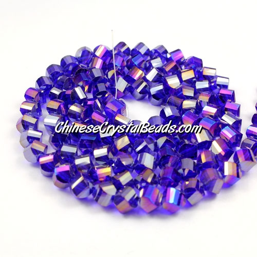 Crystal Helix Beads Strand, 6mm, sapphire AB, about 50 beads