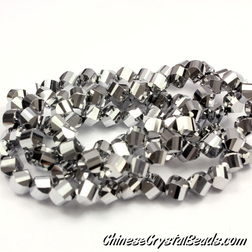 Crystal Helix Beads Strand, 6mm, Silver, about 50 beads