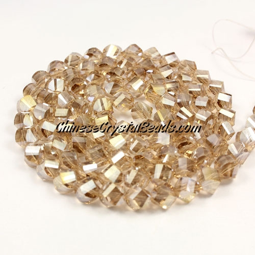 Crystal Helix Beads Strand, 6mm, silver champagne AB, about 50 beads