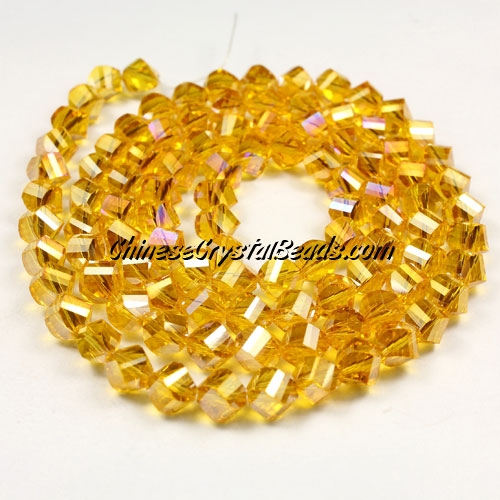 Crystal Helix Beads Strand, 6mm, sun AB, about 50 beads