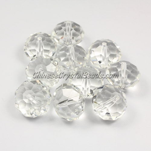 Crystal Rondelle Bead Strand, Clear, 12x16mm ,10 piece