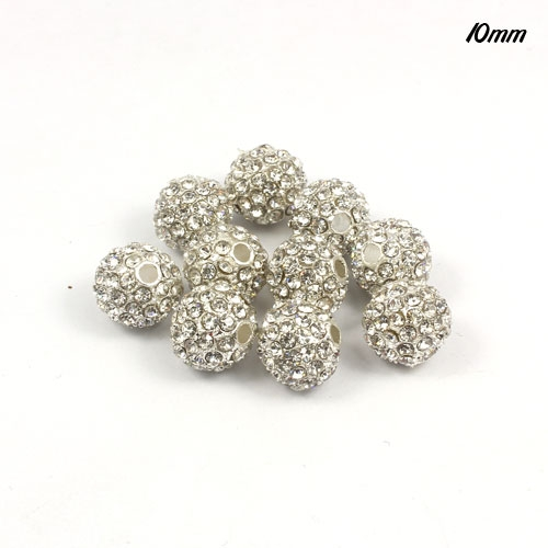 Alloy Crystal Disco Ball 10mm silver white, 10 pieces