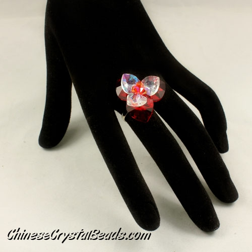 Crystal flower ring, Red/white, width 25MM, #3