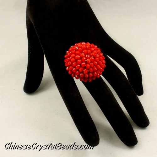 crystal ring mushroom 35mm red velvet, adjustable ring size