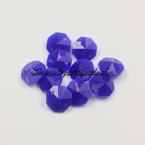 Crystal 14mm Octagon beads, 2 hole, sapphire jade, 20 beads