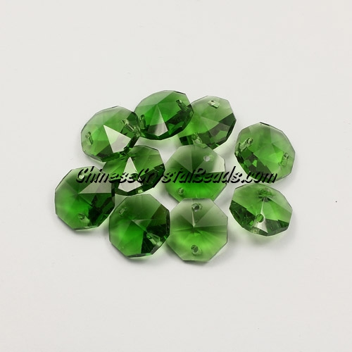 Crystal 14mm Octagon beads, 2 hole, fern green, 20 beads