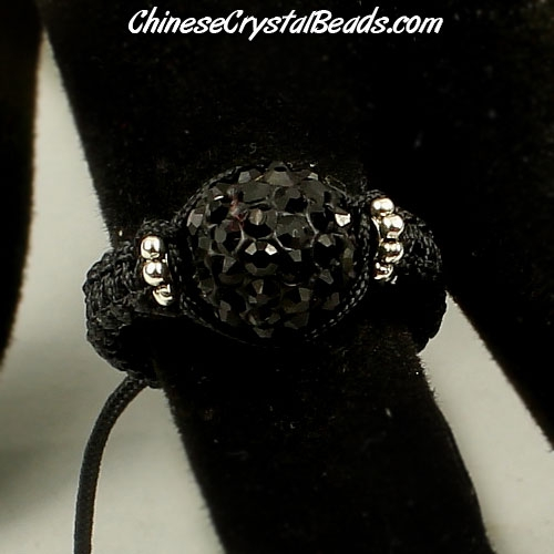 Pave Rings, 10mm Black Clay disco beads, 1 pcs