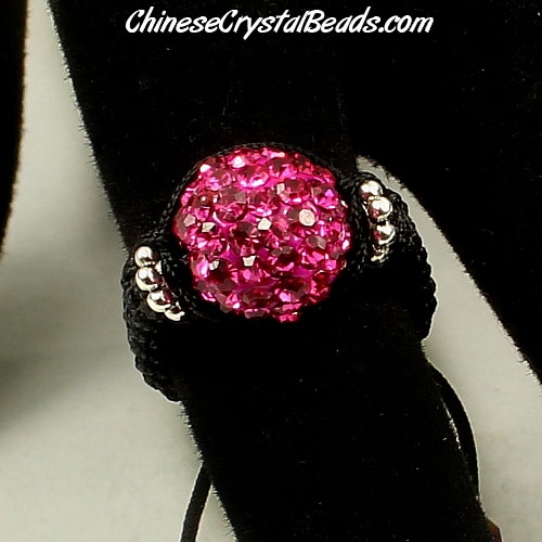 Pave Rings, 10mm Fuchsia Clay disco beads, 1 pcs
