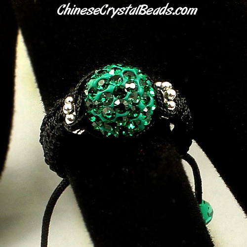 Pave Rings, 10mm Emerald Clay disco beads, 1 pcs
