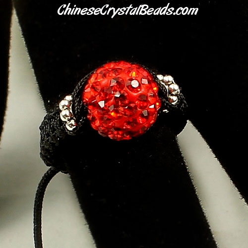 Pave Rings, 10mm Red Clay disco beads, 1 pcs