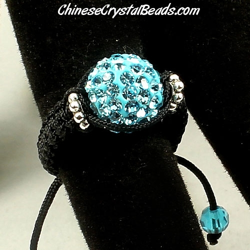 Pave Rings, 10mm Aqua Clay disco beads, 1 pcs