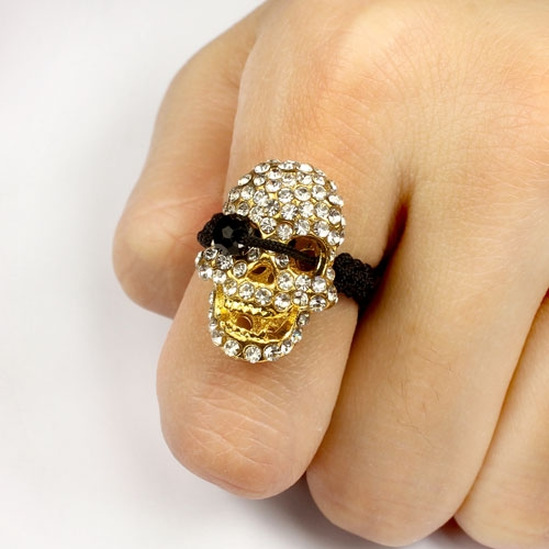 Pave Rings, 15x21mm pirate skull, 1 pcs
