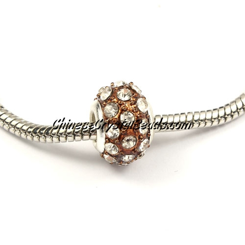 European Beads, alloy Rhinestone, brown, 8x14mm, sold 10 pcs