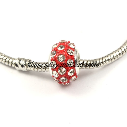 European Beads, alloy Rhinestone, Red, 8x14mm, sold 10 pcs