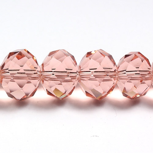Chinese Crystal Rondelle Bead Strand, Rose Peach, 10x14mm ,20 beads