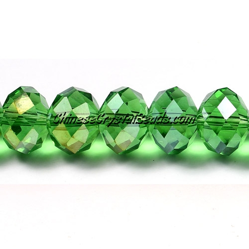 Chinese Crystal Rondelle Bead Strand, Fern green AB, 9x12mm ,about 36 beads