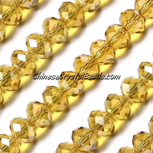 70Pcs 8x10mm Chinese Crystal Rondelle Bead Strand, citrine AB