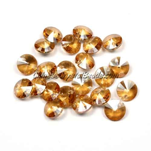 20Pcs 8mm Crystal Rivolis Beads, Crystal Satellite Drill, hole 1mm, golen shadow