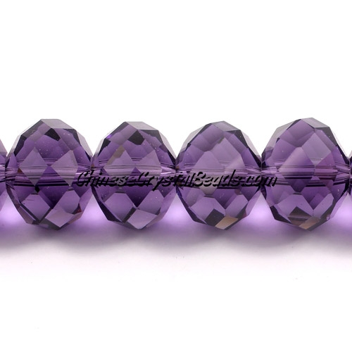 Crystal rondelle beads, 12x16mm, violet, sold 10 pieces