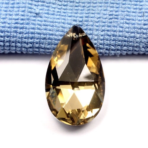 38x22mm Chinese Crystal Faceted Teardrop Pendant, gold, hole: 1.5mm