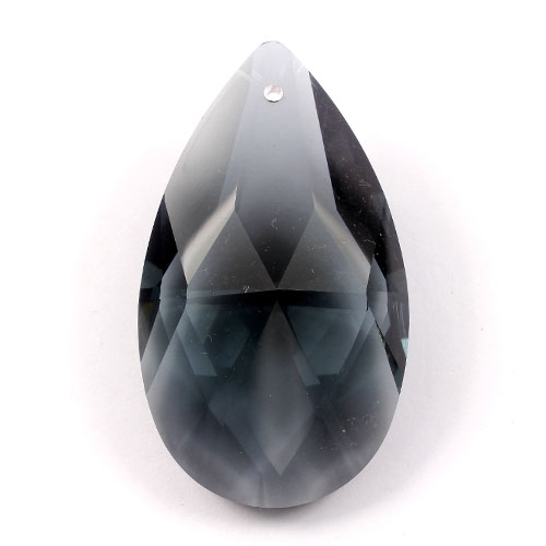 50x28mm Crystal Faceted Teardrop Pendant, Black Diamond, hole: 1.5mm