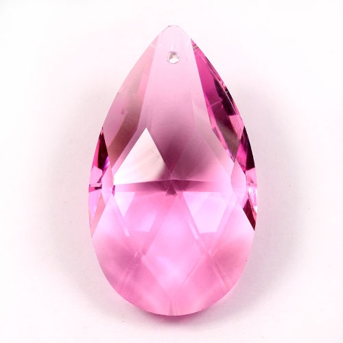 50x28mm Crystal Faceted Teardrop Pendant, pink, hole: 1.5mm