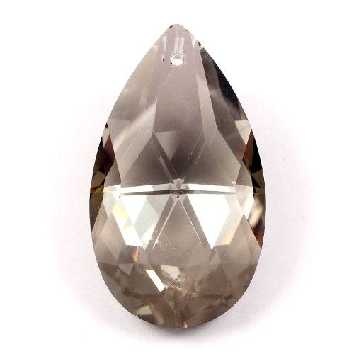 50x28mm Crystal Faceted Teardrop Pendant, silver shade, hole: 1.5mm