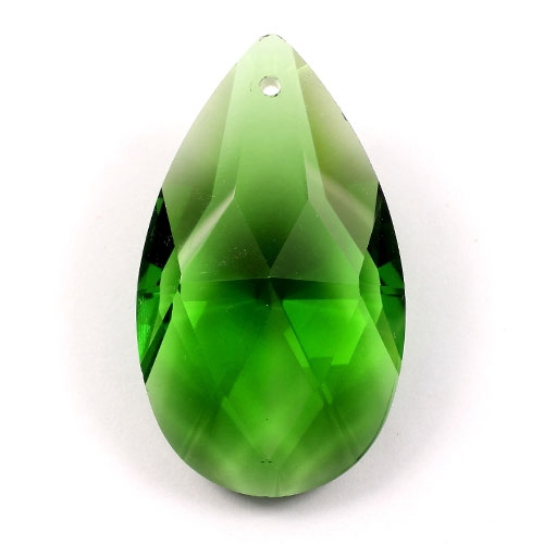 50x28mm Crystal Faceted Teardrop Pendant, fern green, hole: 1.5mm