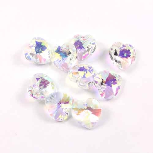10 Pcs Crystal 14mm Heart Bead/Pendant, Clear AB, hole:1.5mm