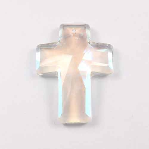 crystal cross pendant, 30x40mm, Clear AB, hole: 1.5mm