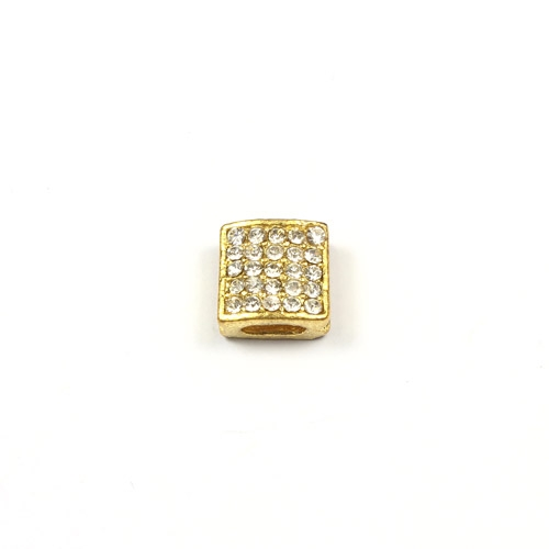 Pave square beads, gold plated, 10mm, sold per 12 pieces