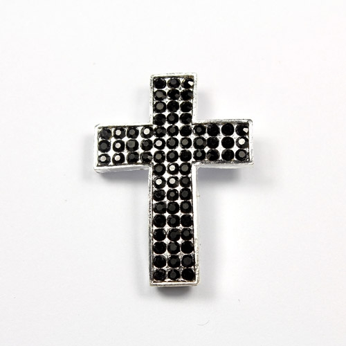 Pave cross pendant, 25x34mm, hole: 3mm, 1 pcs
