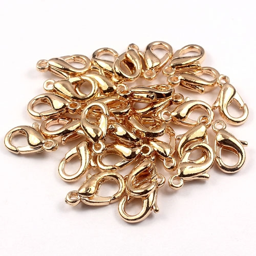 Clasp, lobster claw, Gold , 12x7mm. Sold per pkg of 10pcs