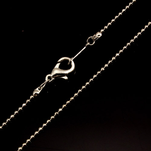 Chain, silver-plated steel, 1mm, 16-inch. Sold individually. #010