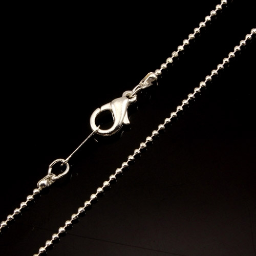 Chain, silver-plated steel, 1mm, 16-inch. Sold individually. #007